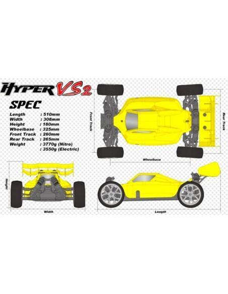 Hobao Hyper VS2-N Yellow - Pull Starter Engine .30 Readyset 2.4Ghz H-VS2N-C30Y - RC Cars 1/8 Scale Nitro & Electric Buggy Off-Ro